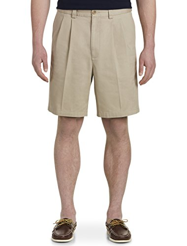 Harbor Bay by DXL Big and Tall Waist-Relaxer Pleated Twill Shorts (48 Reg, Khaki) by Harbor Bay