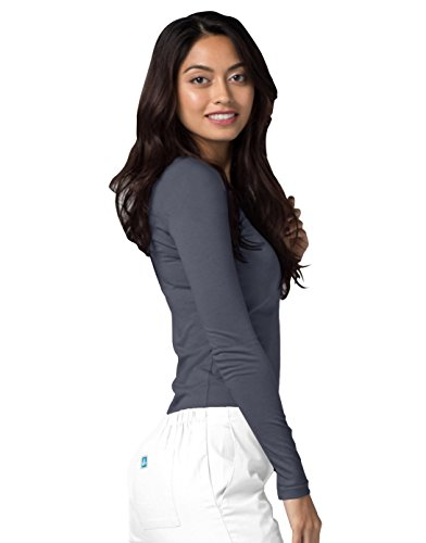 ADAR UNIFORMS Adar Womens Comfort Long Sleeve T-Shirt Underscrub Tee - 2900 - Pewter - S by ADAR UNIFORMS (Image #4)