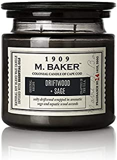 product image for M. Baker by Colonial Candle Scented Apothecary Glass Jar Candle, Driftwood and Sage, Natural Soy Wax Blend, 14 Oz, Two Premium Cotton Wicks, Single (Yuzu Sage, Petitgrain, Spearmint, Rosemary)