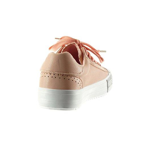 Angkorly - Scarpe da Moda Sneaker donna stella perforato Tacco tacco piatto 2.5 CM - Rosa