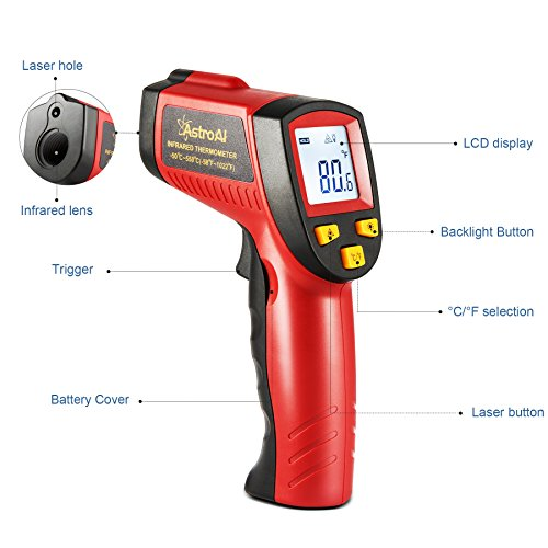 AstroAI Digital Laser Infrared Thermometer, 550 Non-contact Temperature Gun with Range of -58℉~1022℉ (-50℃~550℃), Red by AstroAI (Image #2)