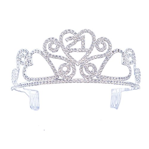 FF 21st Birthday Tiara Crown with Combs Silver Finish (21st Birthday Tiaras)