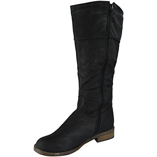 Damen Nubuk Schnalle Beiläufig Arbeit Neu Niedrig Hacke Mitte Kalb Stiefel Größe 36-41 Schwarz