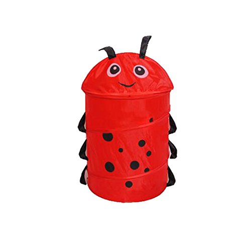 Lqchl Cartoon Folding Storage Baskets For Toys Mesh Fabric Laundry Basket Dirty Colthes Baskets Animal Shape,Ladybug