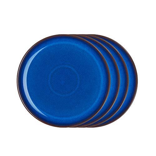 (Denby IMP-004B/4 Imperial Blue Set of 4 Coupe Salad Plate Set, One size, Cobalt)