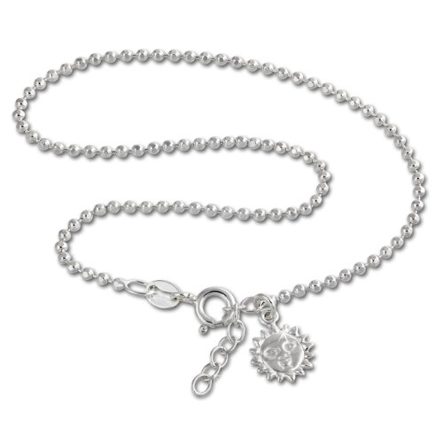SilberDream anklet ball chain with a small sun, with lobster clasp, 10.03 inch, 925 Sterling Silver SDF2075