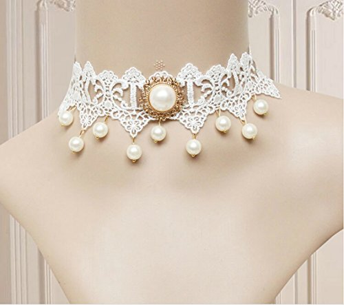 LEECO Elegant Pure Beautiful Gothic Ribbon Bride Wedding Accessories Mosaic A Diamond Flower Lace Pattern Necklace Necklace,White Lace Necklace with A Pearl Diamond and Many Pearls Tassel