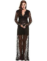 Romanstii Sexy Deep V Neck Long Sleeve High Waist Lace Maternity Long Dress