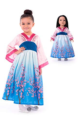 Asian Girl Halloween Costumes (Little Adventures Asian Princess Dress Up Costume & Matching Doll Dress (Large Age)