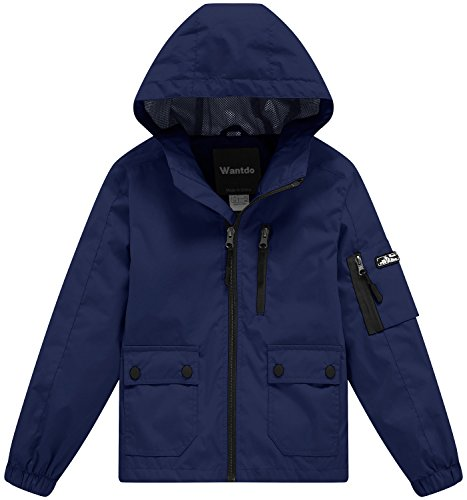 Wantdo Boy's Windproof Lightweight Soft Shell Jacket with Hood Raincoats for Running