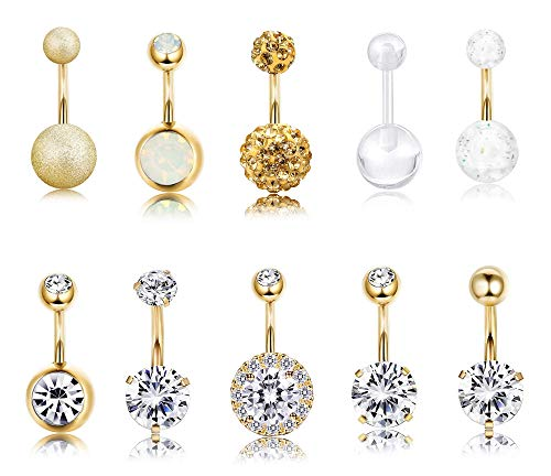 Finrezio 10 PCS 14G Surgical Steel Belly Button Ring Navel Ear Rings CZ Body Piercing Jewelry (B: Gold-Tone)