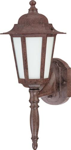 Nuvo Lighting 60 2202 One Light Cornerstone Wall Lantern with Frosted Glass and Photocell, Old Bronze