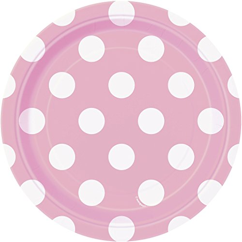 Polka Dot Tea Plates - Light Pink Polka Dot Paper Cake Plates, 8ct