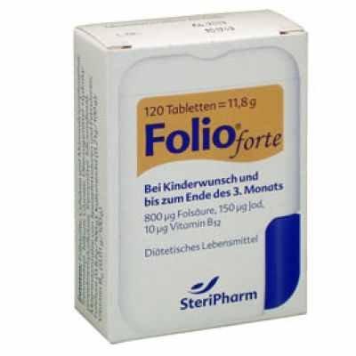 FOLIO forte Tabletten 800 Folsäure, Vitamin B12 und Jod, 120 Stück