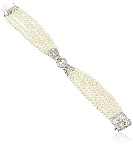Sterling Silver Cubic Zirconia and Freshwater Cultured Pearl Bracelet, - Diamond Pearl Bracelets Com