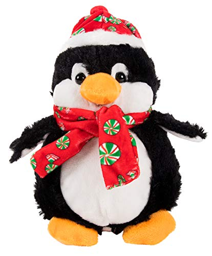 Blue Panda Cute Penguin Stuffed Animal - Puffy The Penguin Kids Soft Plush Toy, Fun Christmas Holiday Party Gifts for Girls and Boys, Festive Decoration, 6.5 x 4.2 x 8 Inches