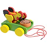 AxiEr Children Wooden Rooster Pull Carts Preschool Toddler Toy