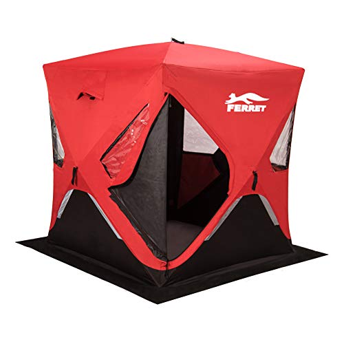 FERRET-1-23-46-8-Person-Waterproof-Pop-up-Portable-Ice-Shelter-Tent-Insulated-Ice-Shelter-Fishing-Tent-with-Carrier-Bag