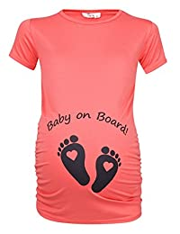 Happy Mama. Womans Maternity Slogan Little Feet Funny Print Top T-shirt. 199p