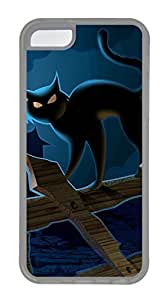 iPhone 5c Cases - Lovely Mobile Phone The Ancient City Of Fence Halloween Black Cat Rubber Bumper Protecting Shell
