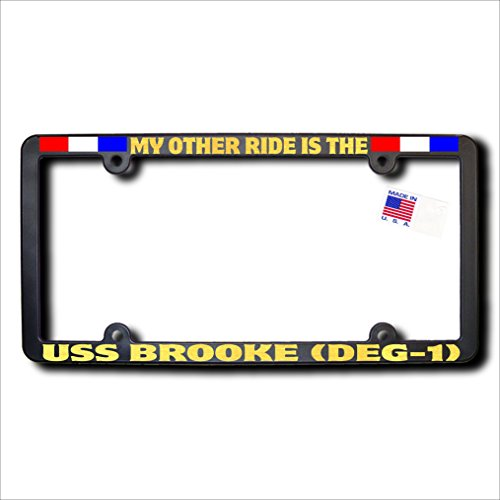 Brooke Acrylic (My Other Ride USS BROOKE (DEG-1) REFLECTIVE GOLD TEXT & Ribbons Frame)