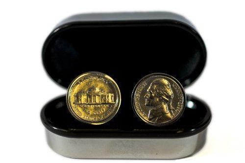 64th Birthday- 1954 Genuine Coin Cufflinks - 5 Cent (Five Cent Coin Cufflinks)