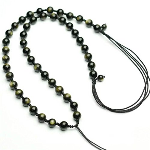 Gold Obsidian (6mm Natural Black Obsidian Gemstone Crystal Round Bead Long Necklace (Gold Obsidian))