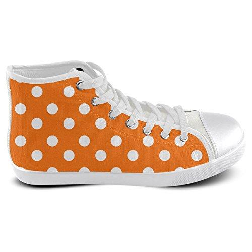 Men Model002 Polka Orange Shoes Canvas Custom For High Top Artsadd Dots vnzxEpT