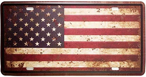 Judyeny New Nice American Flag Logo Retro Vintage Auto License Plate Tin Sign Embossed Tag Size Home Pub Bar Decor Home Decor Wall Art 11.8