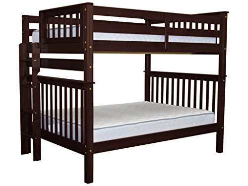 Bedz King Bunk Beds Full over Full Mission Style with End Ladder, Cappuccino