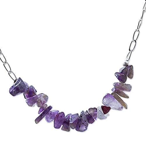 - NOVICA Amethyst .925 Sterling Silver Beaded Necklace, 20.75