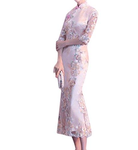 Da Sera Del Coolred Cinese D'epoca Del Ricamato Xl Patchwork Pizzo Cheongsam donne Vestito Fishtail Champagne y4qw4vZz