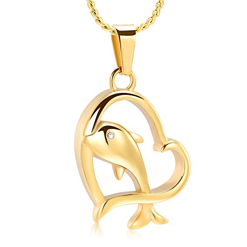 Dolphins Moon (Imrsanl Cremation Jewelry for Ashes Pet/Human Pendant Stainless Steel Cute Dolphin Keepsake Memorial Heart Urn Necklace for Ashes (Gold))