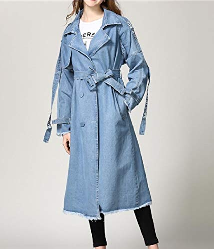 Blu Doppio Jacket Rkbaoye Women Trucker Belted Petto Maxi Trench Denim UzSgq