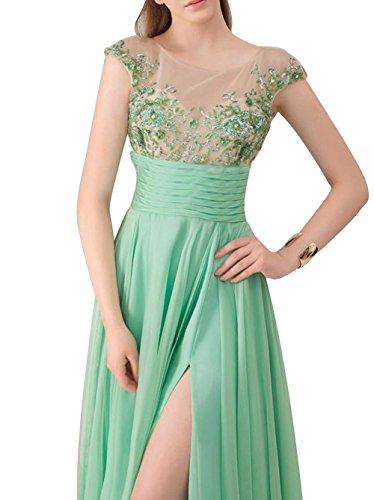 Robe De Bal Verte De Fête Pure Soirée En Mousseline De Soie Fendue Femmes Dreamdress