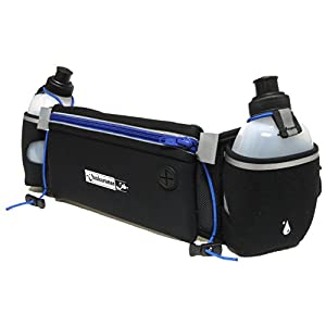 Hydration Belt for Running with Water Bottles (2x BPA-free 10 Oz) Fits iPhone 6s plus- Soft Neoprene Fuel Belt for Running,Race,Marathon,Hiking- Men & Women Runners belt with Water bottles (Blue)