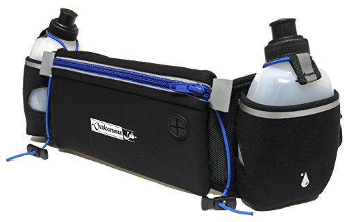Hydration Belt for Running with Water Bottles (2x BPA-free 10 Oz) Fits iPhone 6s plus- Soft Neoprene Fuel Belt for Running,Race,Marathon,Hiking- Men & Women Runners belt with Water bottles - Race Best Belt