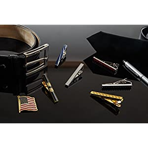 Tie Bar Clip Set for Men -[6 Pc]- Pinch / Hold Skinny & Regular Ties - Gift Box (with pen).