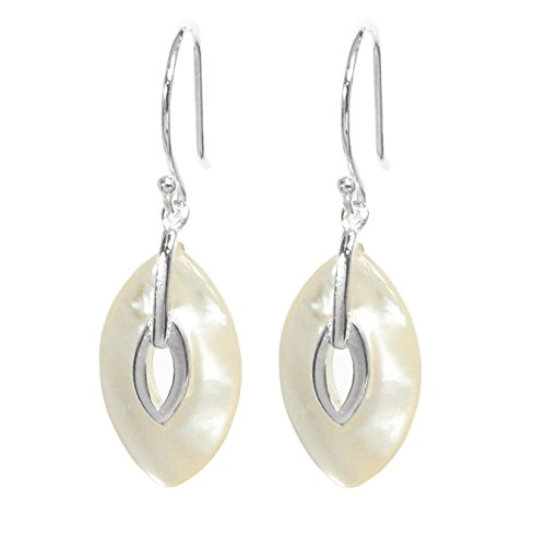 Dreambell .925 Sterling Silver White Shell Mother Of Pearl Mop Oval Eye Charm Dangle French Hook Earwire Earring Gift (Mop Dangle)