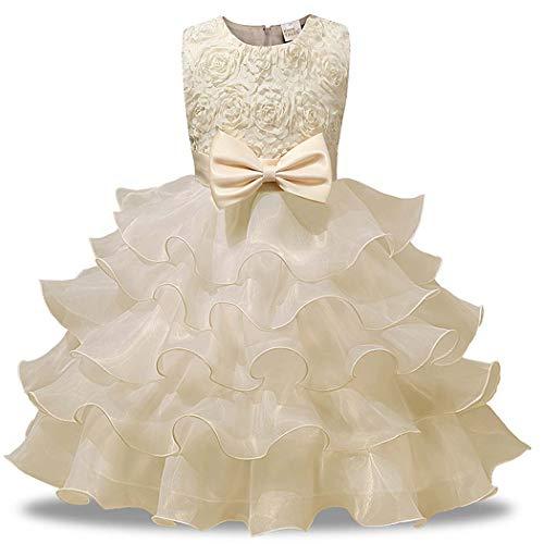 Askong Girls Summer Sleeveless O Neck Belt Pure Pageant Evening Tutu Princess Midi Beige Dresses for 5-6 Years -