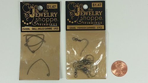 the Jewelry shoppe (TM) Brand Antique Brass Gold Metal Fishhook Earwires & Small Angled Earwires: 1 Item Contains Pkg. 1 (Eight 7/8