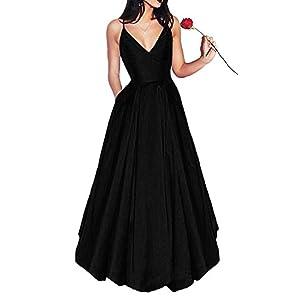 Little Star Women's Long Satin Prom Dresses 2019 V Neck Evening Gown A Line