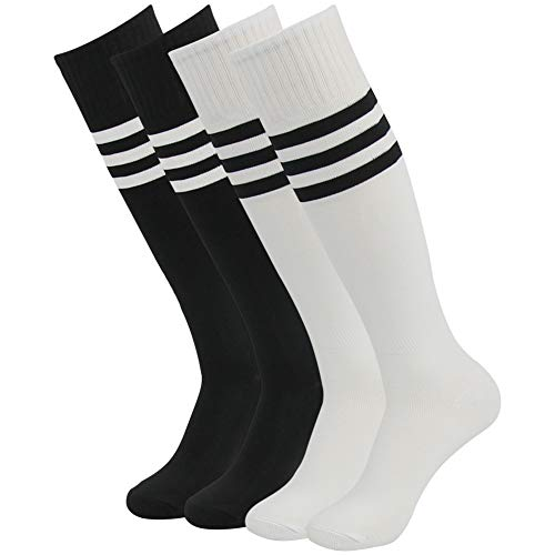 (Casual Dress Tube Socks, Three Street Over Knee Triple Stripe Pattern Sport Homecoming Soccer Baseball Softball Socks for Men and Women Halloween Cosplay White Black 4 Pairs)