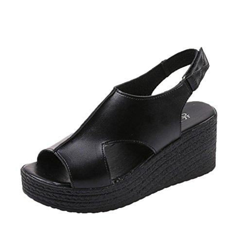Transer® Ladies Wedge Heel Sandals- Women Summer Sandals Comfortable Wedges Shoes Casual Black 3J5dTyfmf