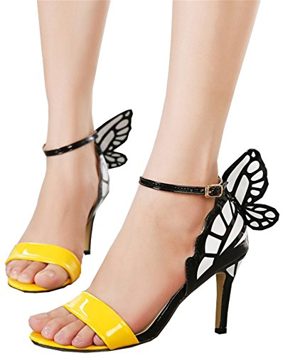 Sexy Shoes Buckle high Sandals Women Butterfly Pumps Dream Pointed UNIOPLIIL Heels Toe Party Wedding Nightclub Yellow Ewq6XFn