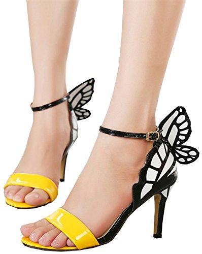 Sexy Shoes Buckle high Sandals Women Butterfly Pumps Dream Pointed UNIOPLIIL Heels Toe Party Wedding Nightclub Yellow Ewq6XFn