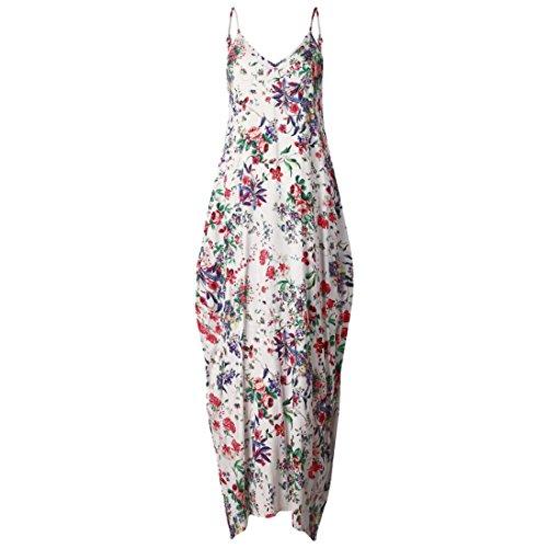 vovotrade Mujeres Nuevo caliente sin mangas V cuello de impresión de flores Maxi vestido largo XXXL