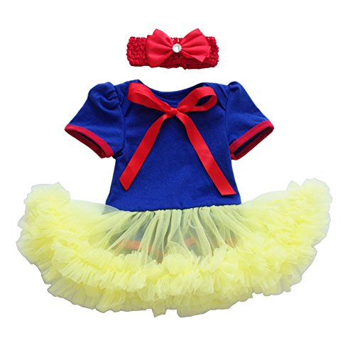 Newborn Infant Baby Girl Princess Party Romper Suits Costume My 1st Halloween Black Orange Tutu Dress Nb-18m Clothe Set Snow White 0-3 Months ()