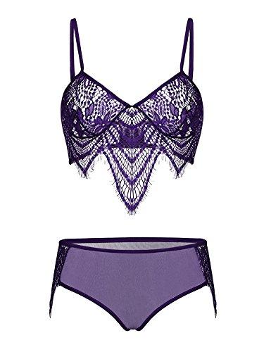 ADOME Valentine Lingerie Babydoll 2 Piece Lace Bra and Panty Set,B Style-purple,X-Large