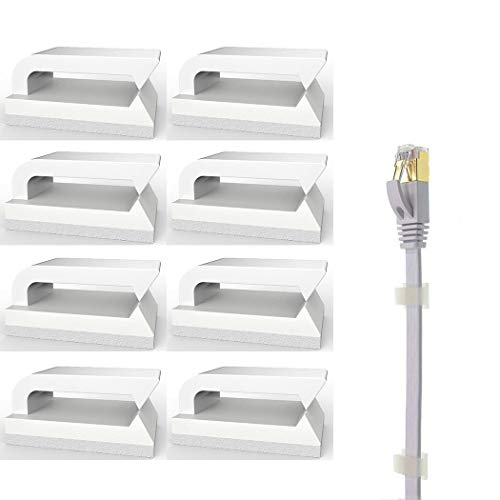 Ethernet Cable Clips Wires Clamp (White Set of 100) with 3M Self-Adhesive Pads Nylon Cable Holder for Telephone or Ethernet Cords Tidy and Organisers